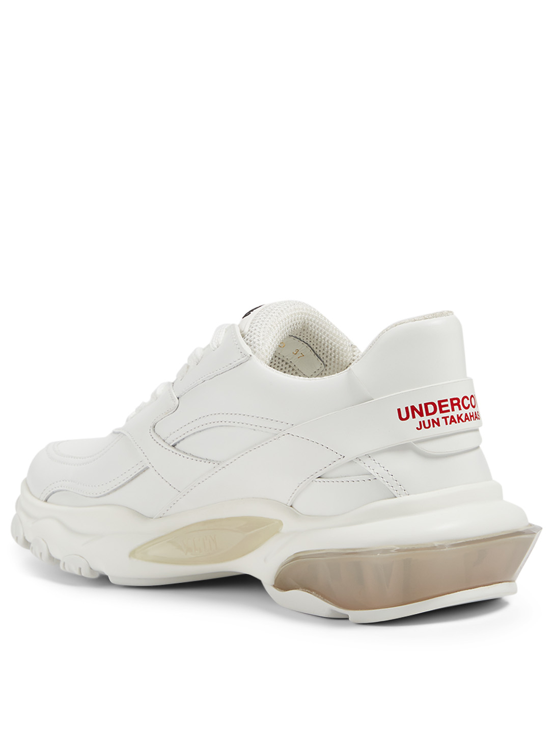 VALENTINO GARAVANI Undercover Bounce Leather Sneakers With Rose Print Women's White