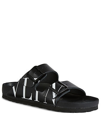 VALENTINO GARAVANI VLTN Leather Birkenstock Slide Sandals Women's Black