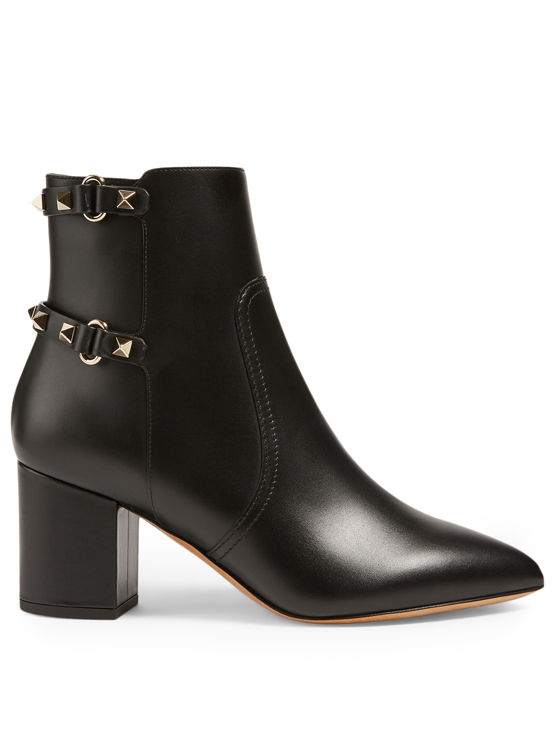VALENTINO GARAVANI Rockstud Leather Heeled Ankle Boots Women's Black