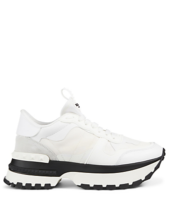 VALENTINO GARAVANI Rockrunner.Up Leather Sneakers In Tonal Camouflage Women's White