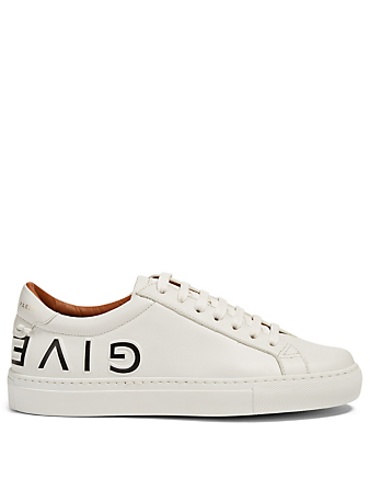 GIVENCHY Urban Street Leather Reverse Logo Sneakers Women's Black