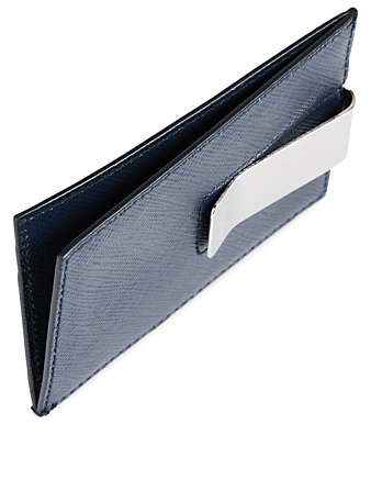 PRADA Saffiano Leather Card Holder With Clip Men's Blue