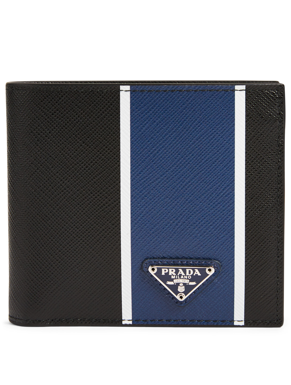 3399a87555a9 PRADA Saffiano Leather Bifold Wallet With Stripe | Holt Renfrew