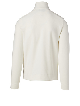 MONCLER GRENOBLE Fleece Zip Sweater Men's White