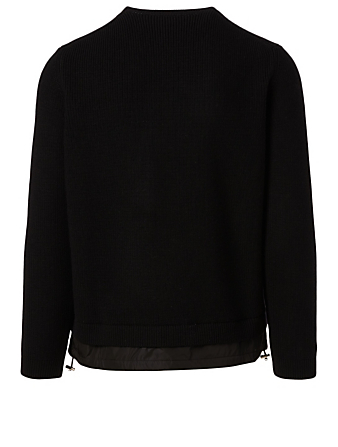 MONCLER Wool Sweater With Nylon Gaiter Men's Black
