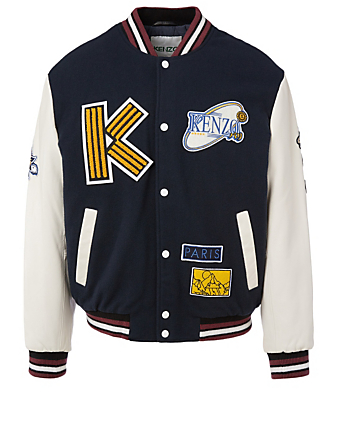 KENZO Tiger Mountain Wool Varsity Jacket Men's Blue