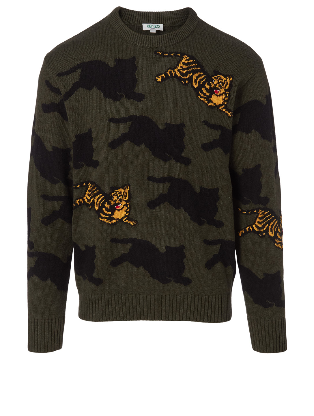 KENZO Jumping Tiger Wool-Blend Sweater Designers Green