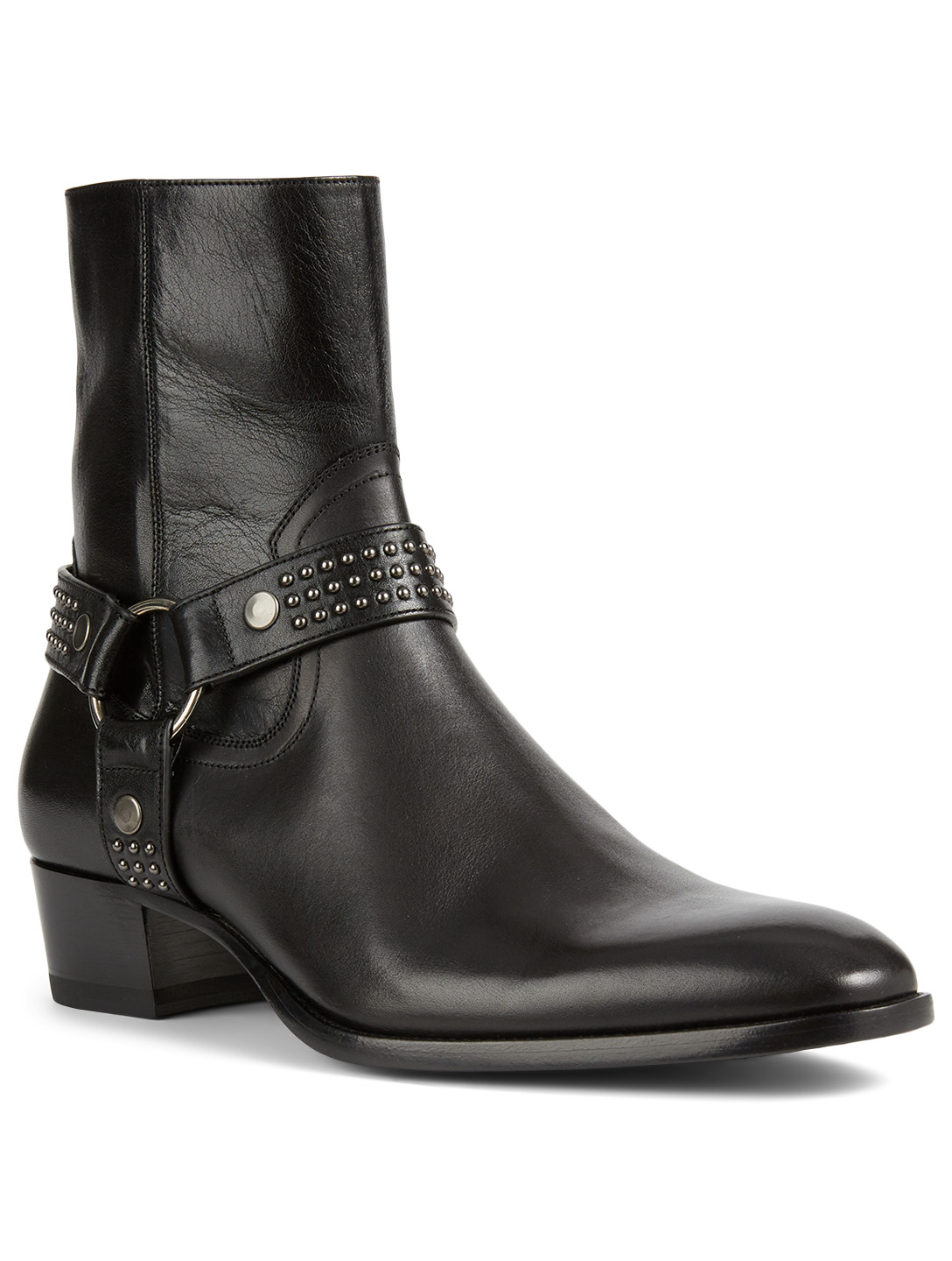 SAINT LAURENT Wyatt Leather Harness Ankle Boots Men's Black