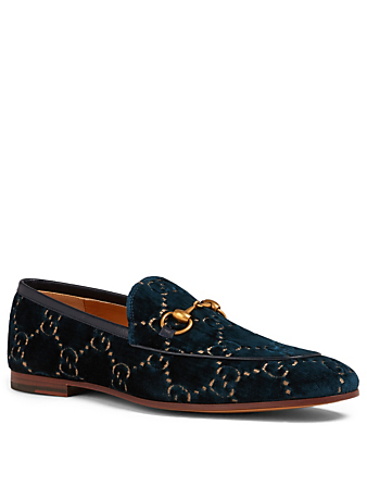 GUCCI Jordaan GG Velvet Loafers Men's Blue