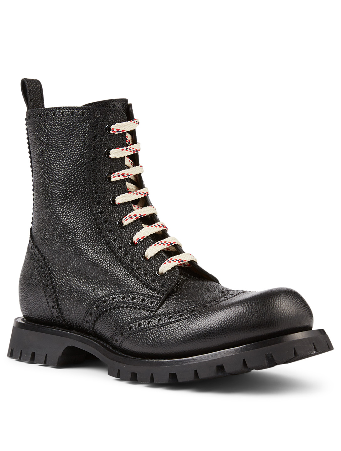 GUCCI Leather Lace-up Brogue Boots Men's Black
