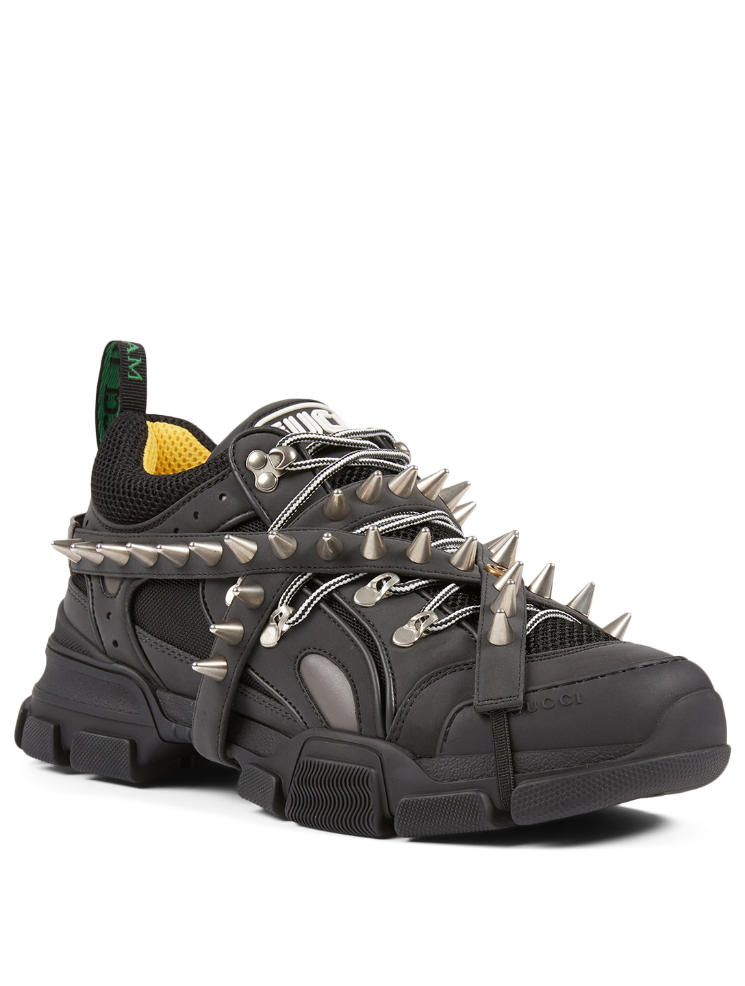 GUCCI Flashtrek Reflective And Technical Canvas Sneakers With Removable Spikes Men's Black