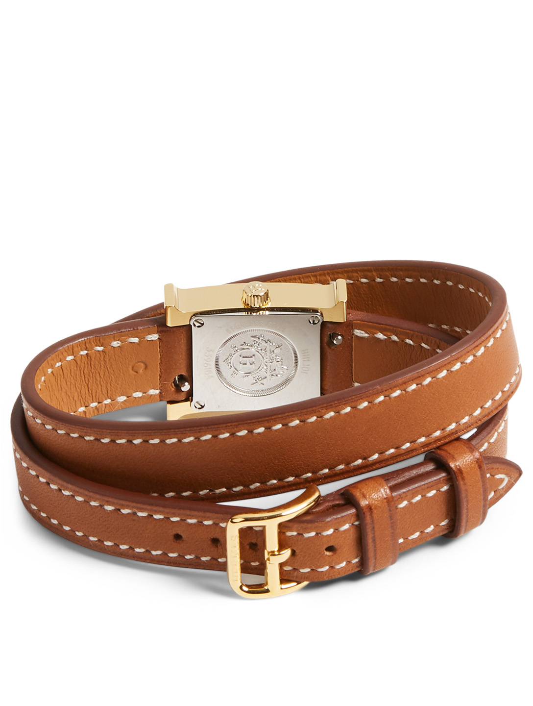 HERMÈS Very Small Heure H Goldplated Leather Wrap Strap Watch Women's Metallic