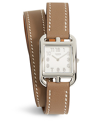 HERMÈS Small Cape Cod Stainless Steel Leather Wrap Strap Watch Women's Metallic