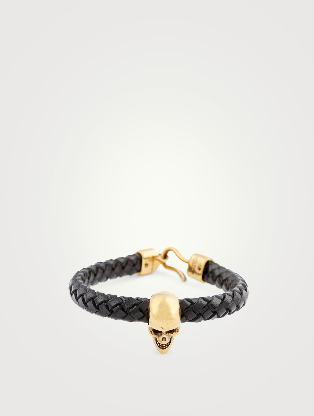 ALEXANDER MCQUEEN Braided Leather Skull Bracelet Men's Black