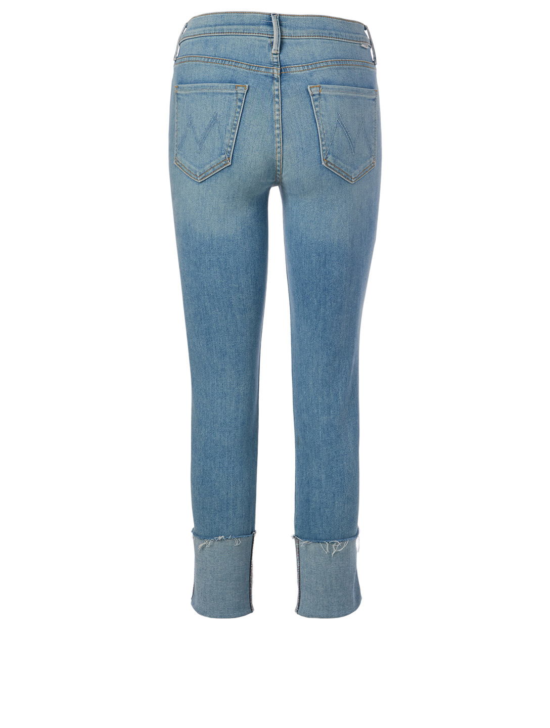 MOTHER Pony Boy Jeans With Ankle Fray Women's Blue