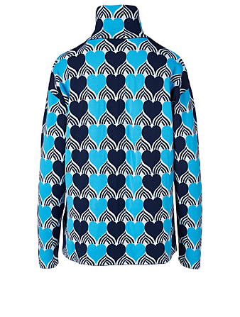 MONCLER GENIUS Turtleneck Sweater In Heart Print Women's Blue
