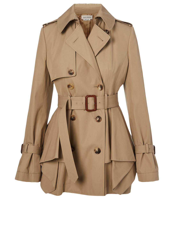 speical offer big selection hot sale ALEXANDER MCQUEEN Cotton Peplum Trench Coat | Holt Renfrew