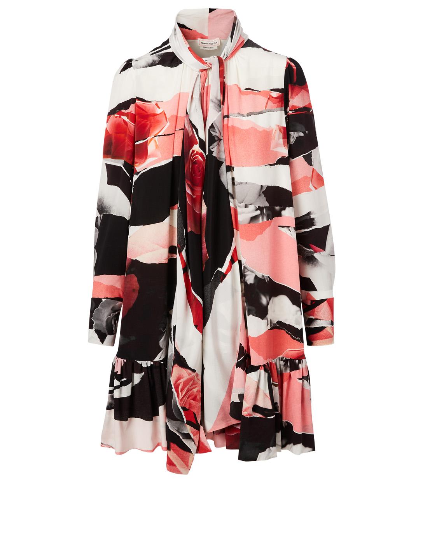 Silk Long Sleeve Dress In Rose Print by Holt Renfrew