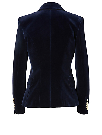 BALMAIN Velvet Double-Breasted Blazer Women's Blue