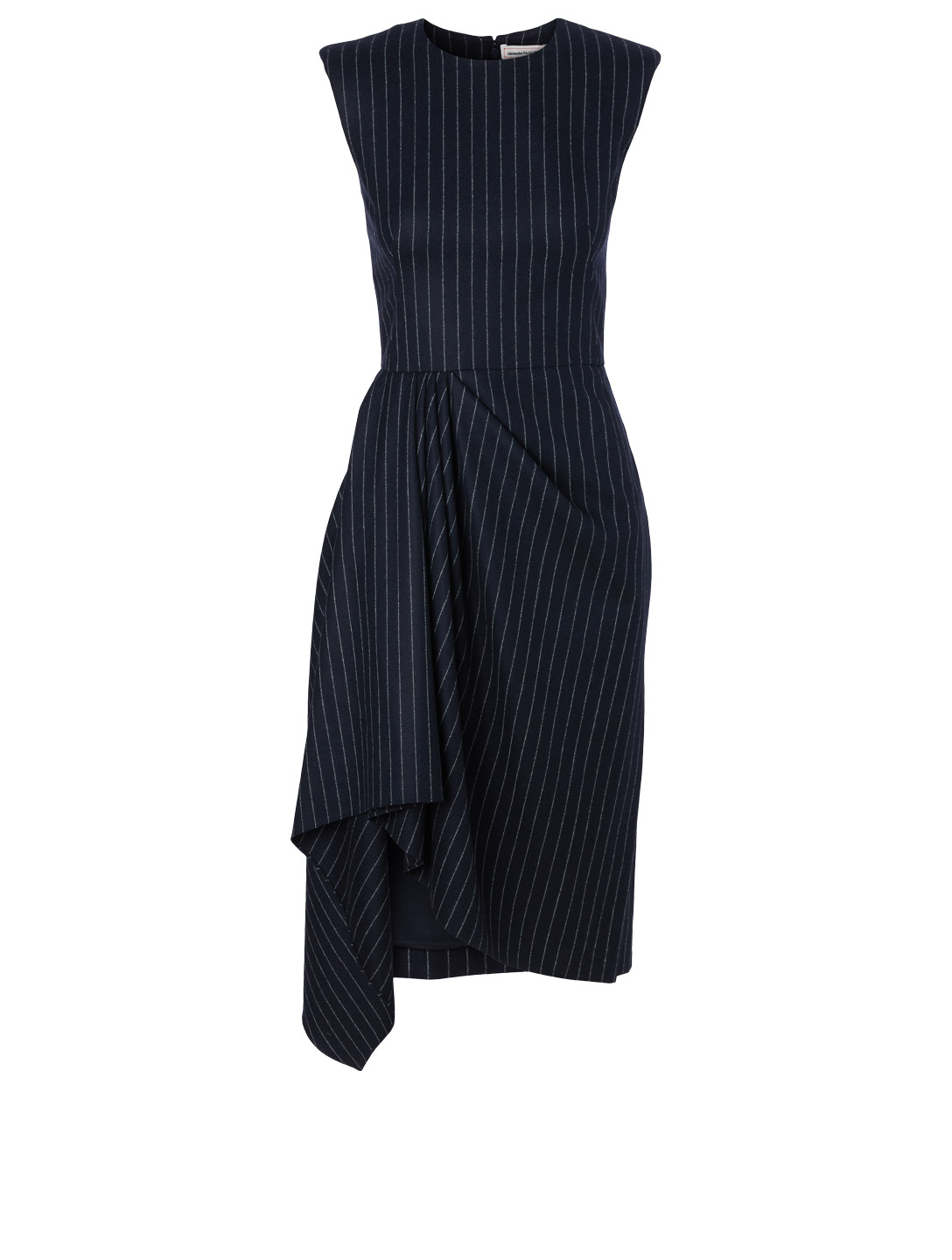 ALEXANDER MCQUEEN Wool Midi Dress In Pinstripe Print Women's Blue