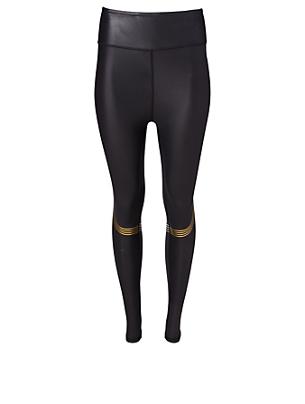 ALL FENIX Speed Tech Gold High Waisted Leggings Women's Black