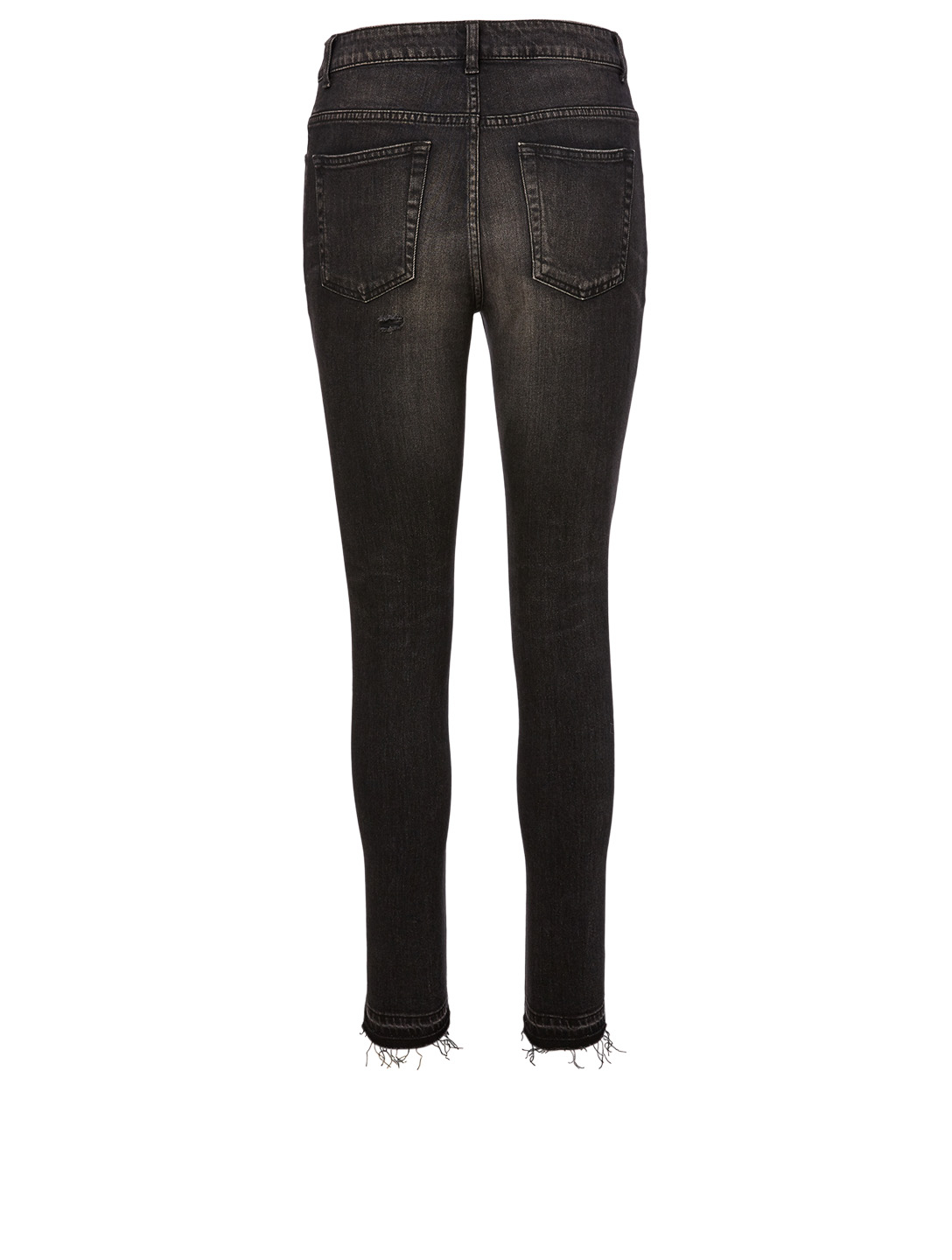 SAINT LAURENT Frayed Skinny Jeans Women's Black