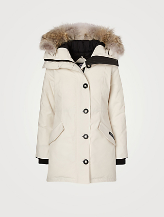 CANADA GOOSE Rossclair Down Parka With Fur Hood - Fusion Fit Women's White