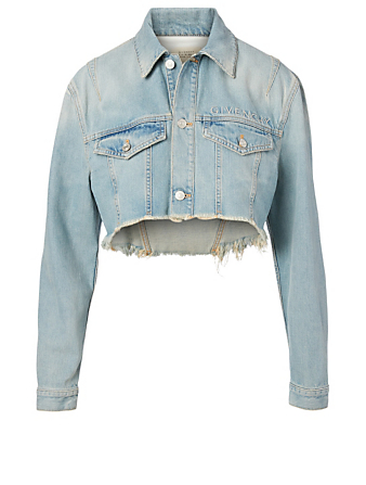 GIVENCHY Embroidered Logo Denim Jacket Women's Blue