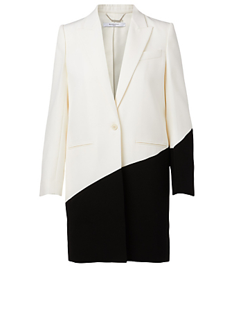 GIVENCHY Wool Two-Tone Long Blazer Women's Black
