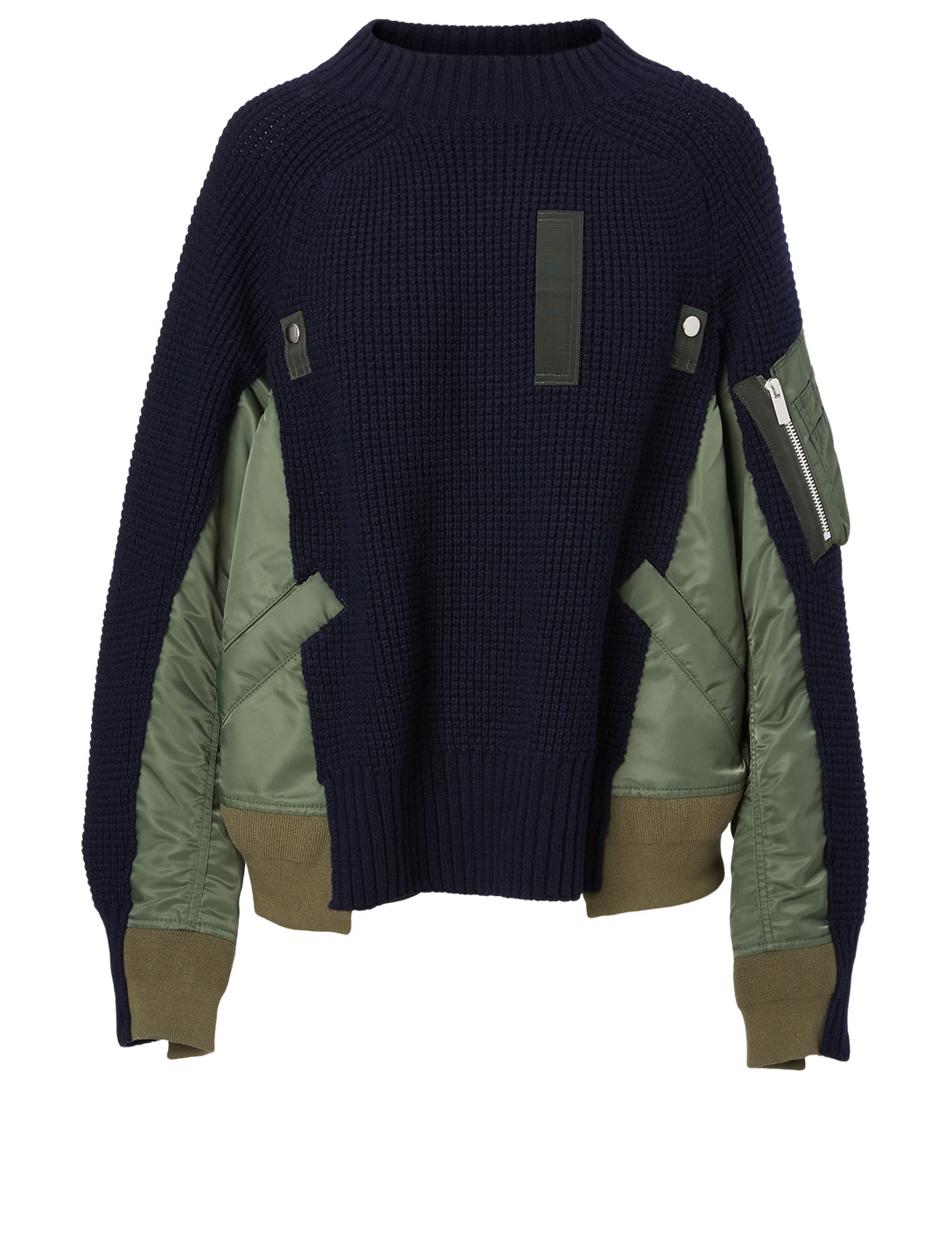 SACAI Wool Bomber Sweater Women's Blue