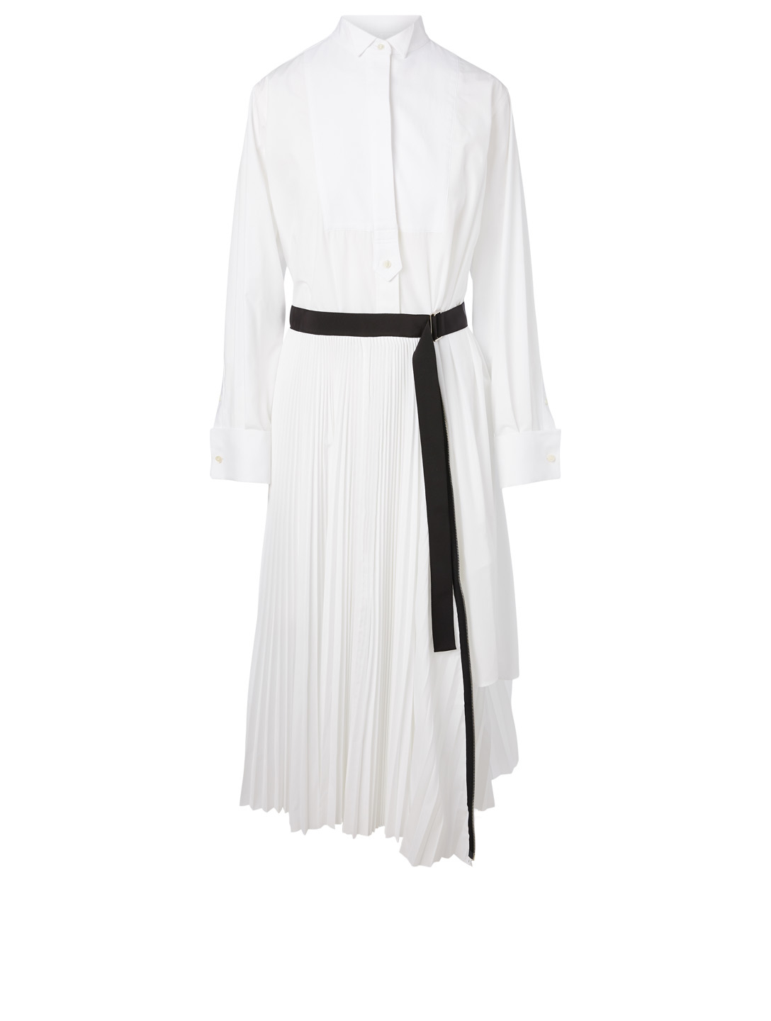 SACAI Cotton-Blend Midi Dress With Belt Women's White