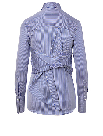 VICTORIA VICTORIA BECKHAM Cotton Bow Back Shirt In Stripe Print Women's Black
