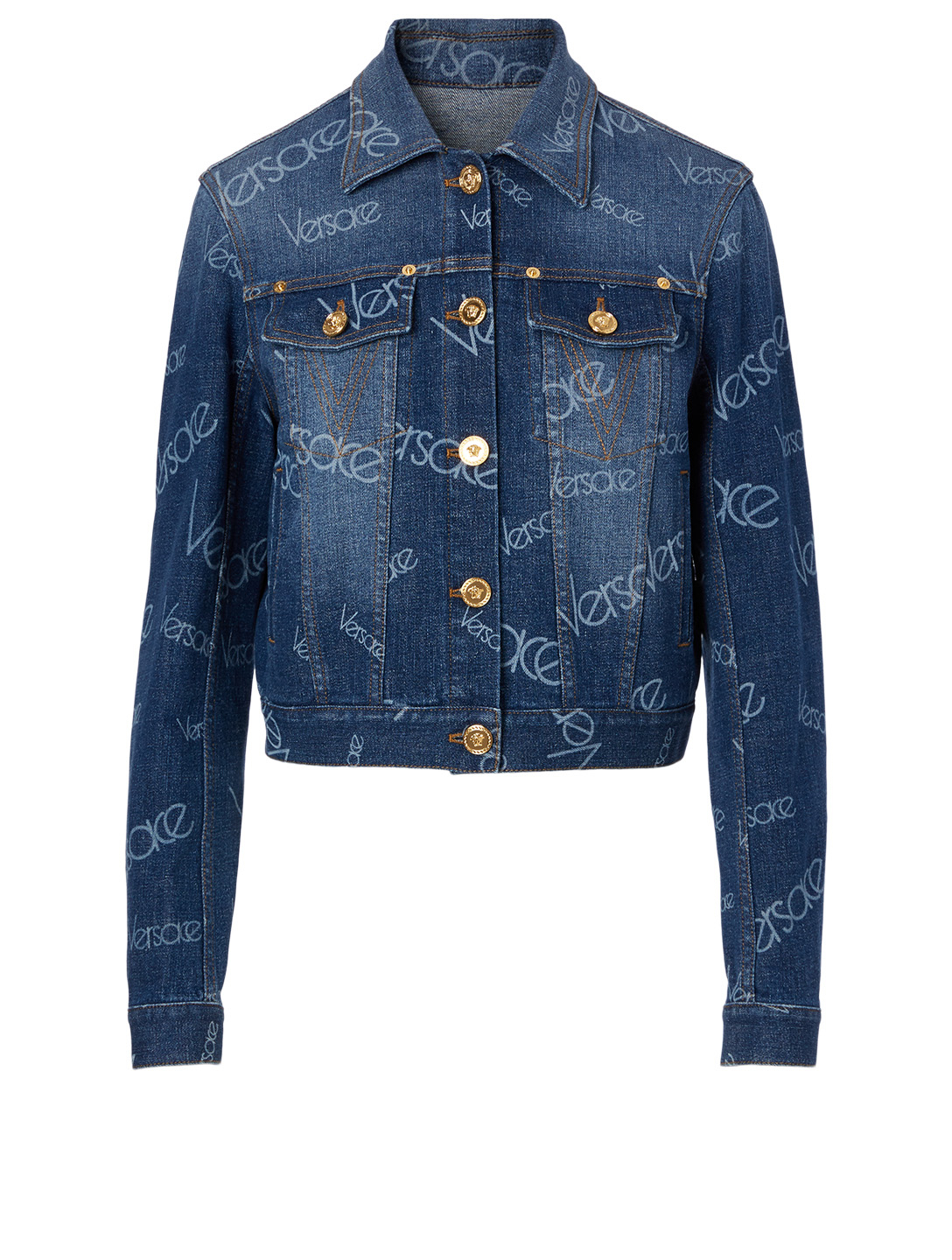 VERSACE Logo Denim Jacket Women's Blue