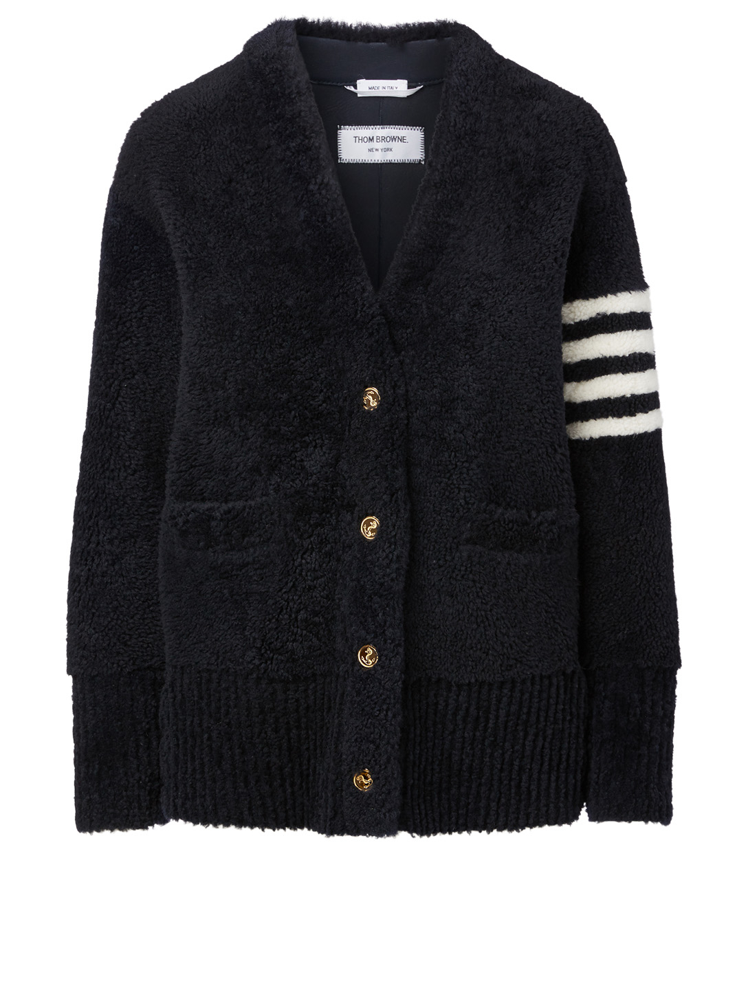 THOM BROWNE Shearling Four-Bar Cardigan Women's Blue