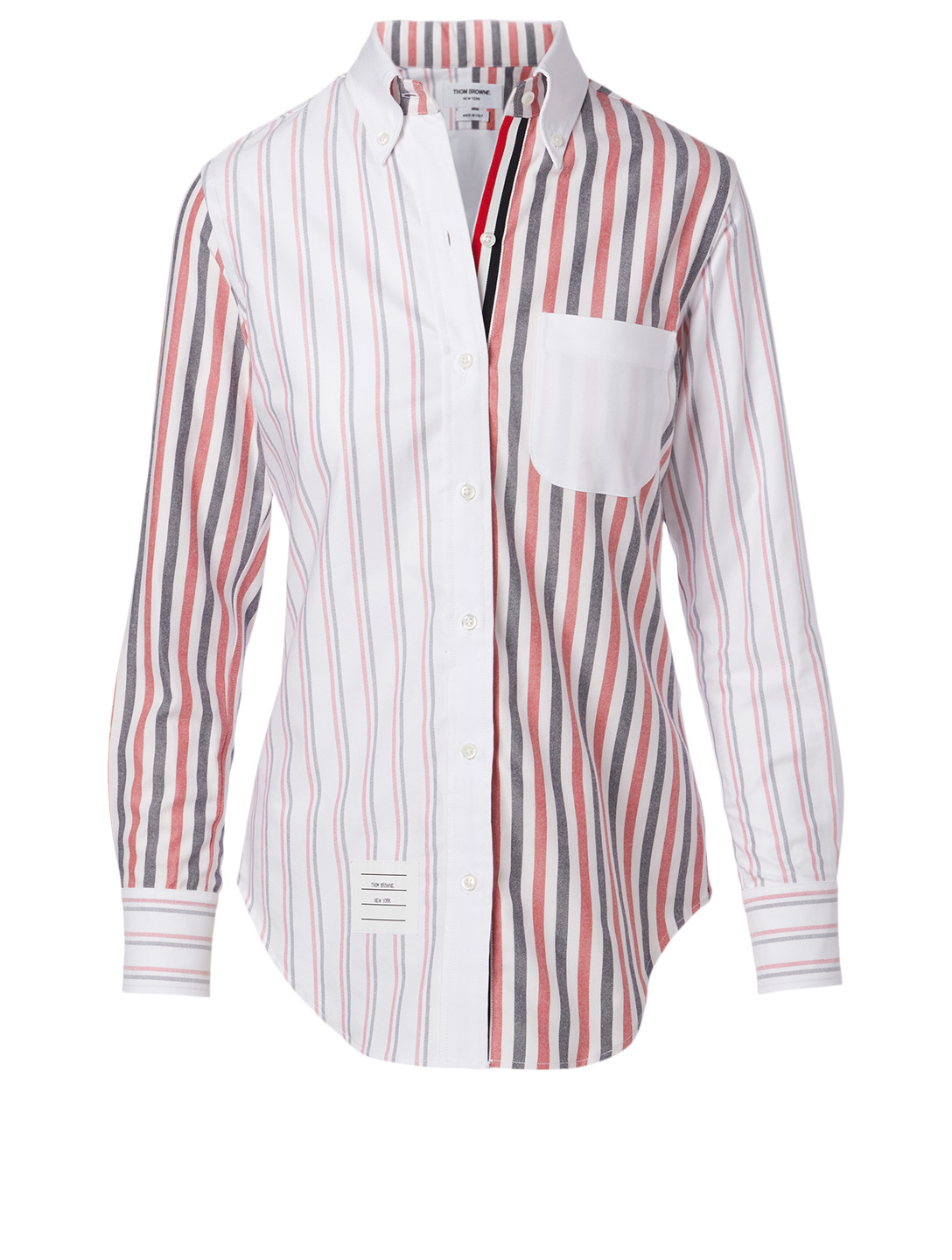 THOM BROWNE Cotton Shirt In Mix Stripe Print Women's Multi