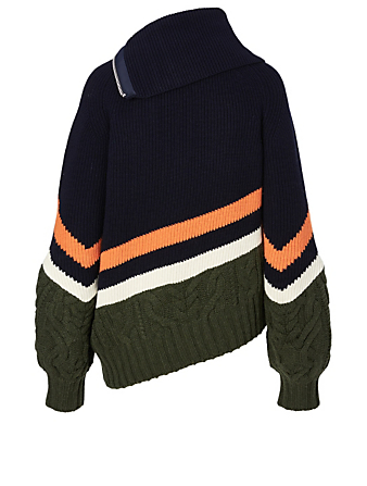 SACAI Wool-Blend Zip Cardigan Designers Blue