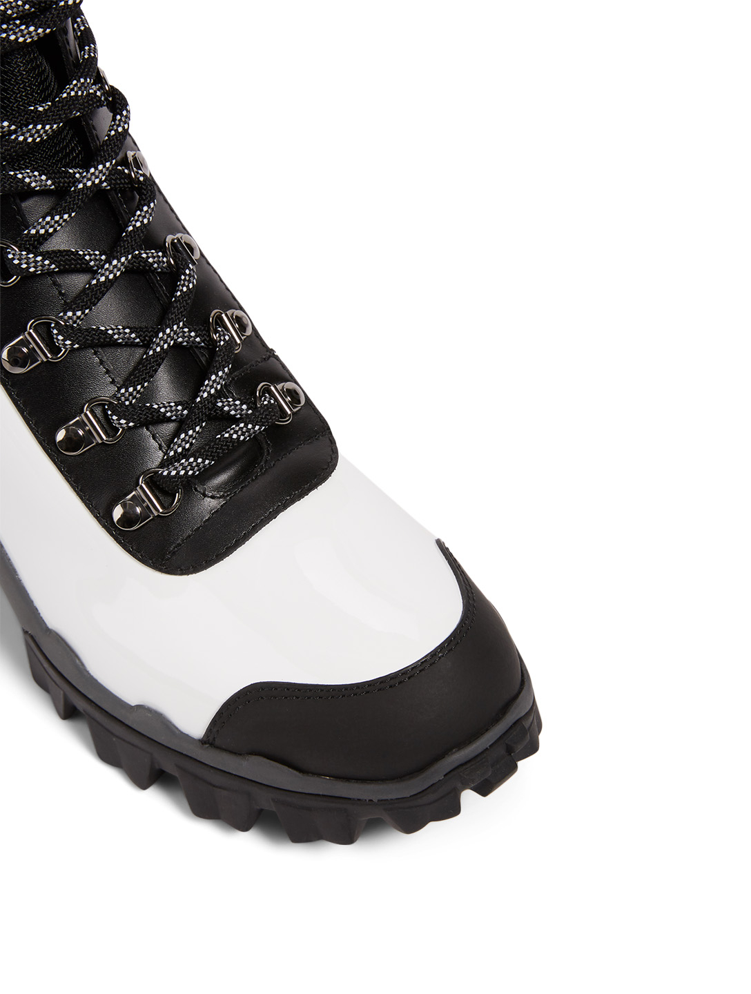 MONCLER Helis Patent Leather Ankle Boots Women's White