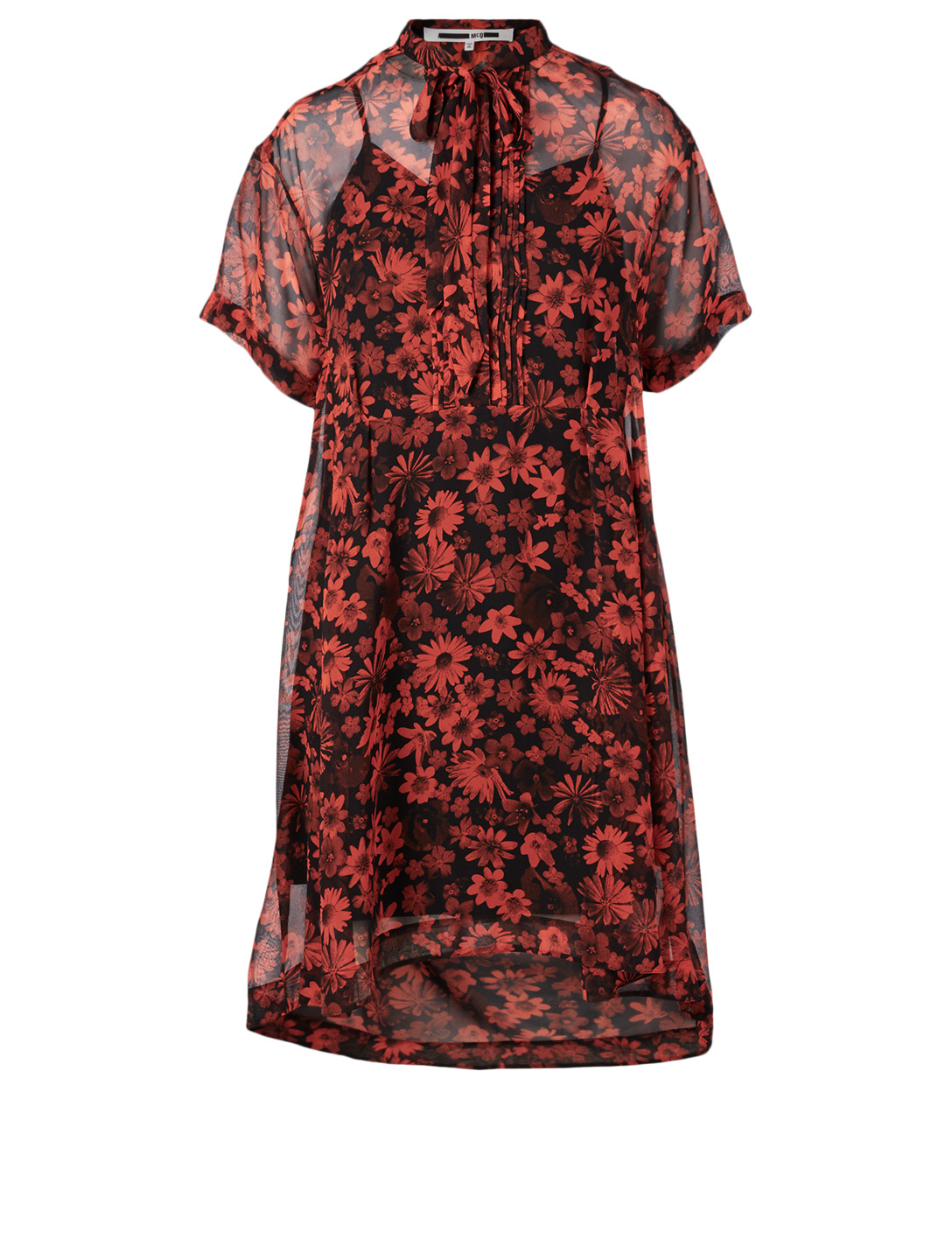 MCQ ALEXANDER MCQUEEN Silk Short-Sleeve Dress In Floral Print Women's Multi
