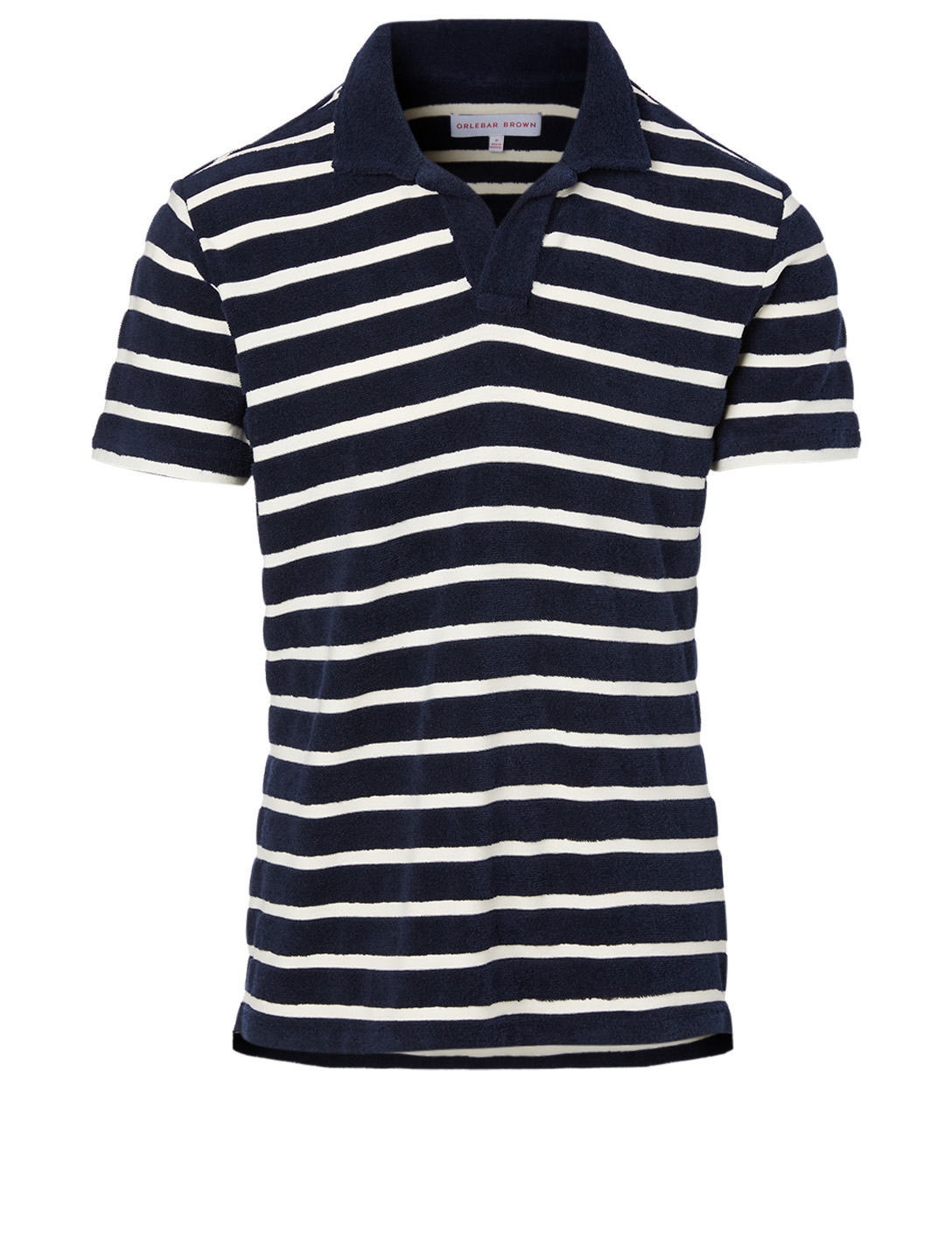 ORLEBAR BROWN Striped Terry Towelling Resort Polo Shirt Men's Blue