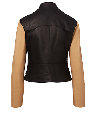 VICTORIA BECKHAM Leather Contrast Biker Jacket Women's Black