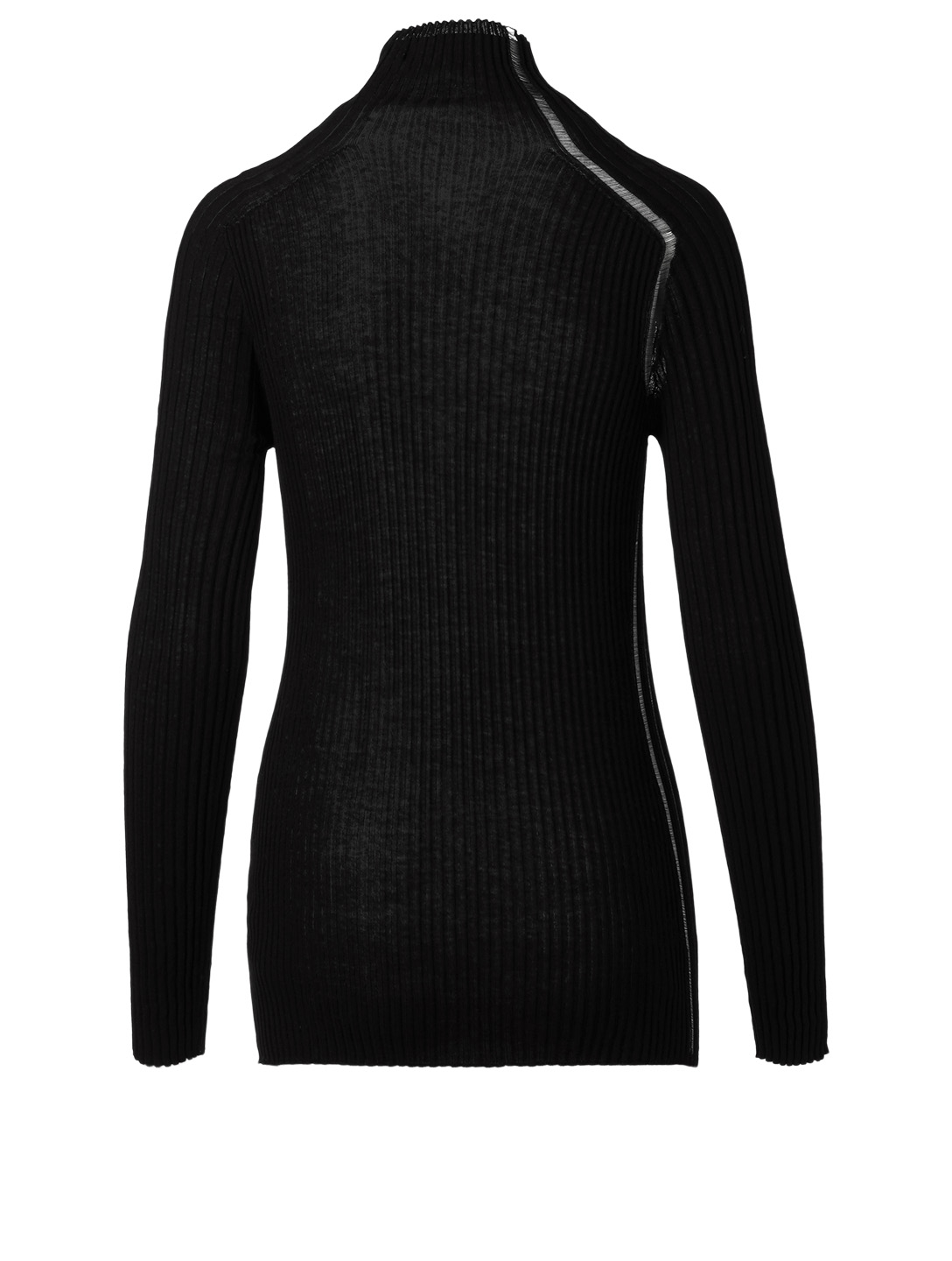 VICTORIA BECKHAM Cotton Ribbed Turtleneck Top Women's Black