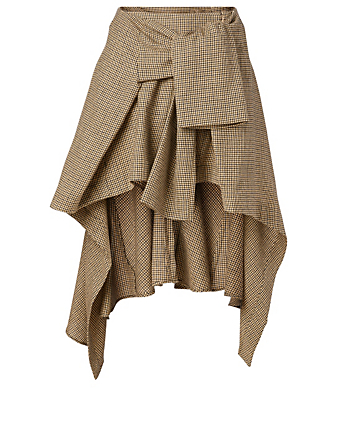 CHLOÉ Wool Wrap Skirt In Houndstooth Print Women's Beige