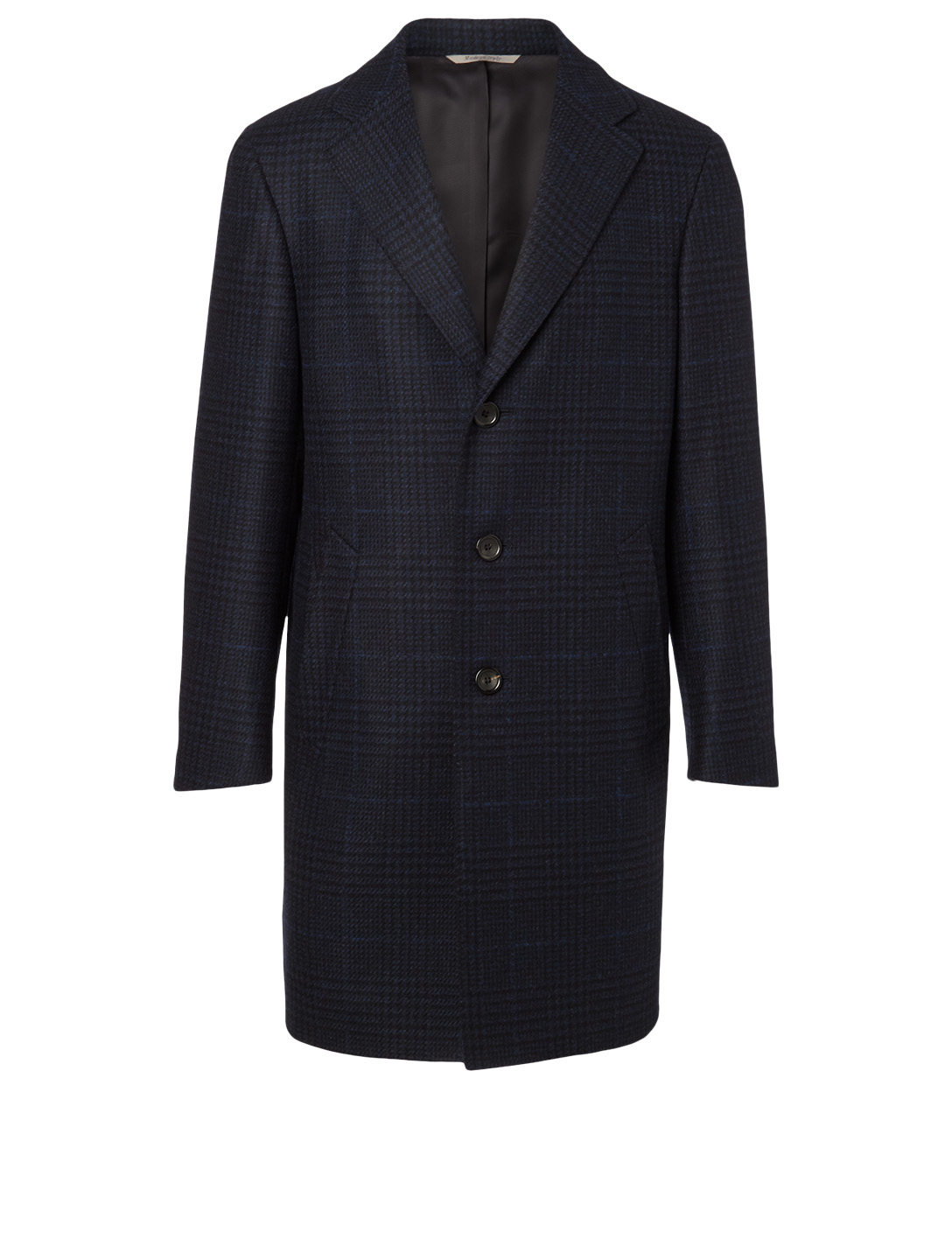 CANALI Wool And Cashmere Check Coat Men's Blue