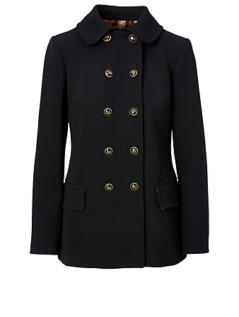 DOLCE & GABBANA Wool-Blend Double-Breasted Coat Women's Black