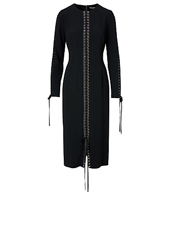 DOLCE & GABBANA Long-Sleeve Midi Dress With Lace Detail Women's Black