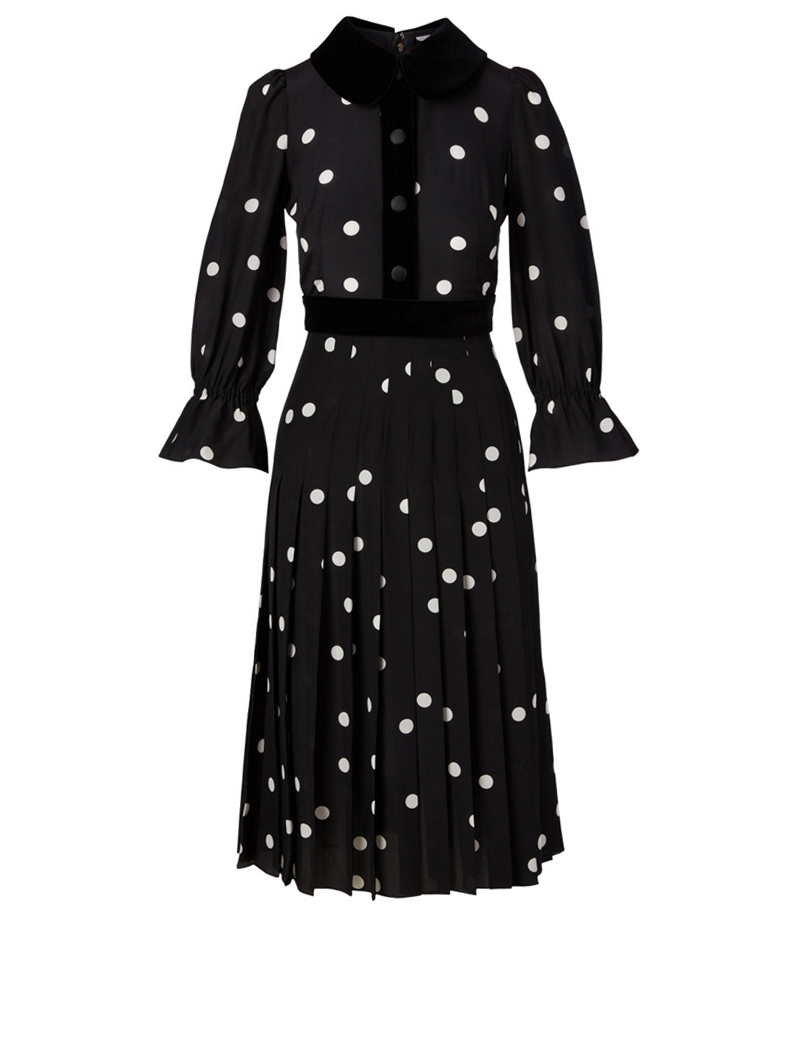 DOLCE & GABBANA Crepe de Chine Dress in Polka Dot Print Women's Multi