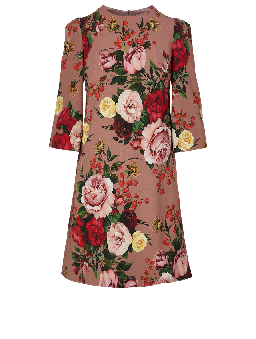 DOLCE & GABBANA Cady Mini Dress In Baroque Rose Print Women's Multi