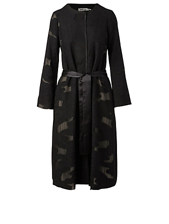 AMUR Aiko Brocade Belted Coat H Project Black