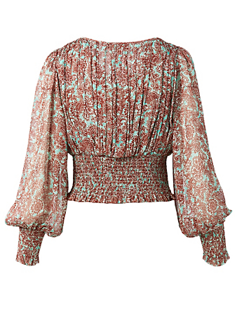 AMUR Zora Silk Chiffon Smocked Blouse In Graphic Damask Print H Project Multi