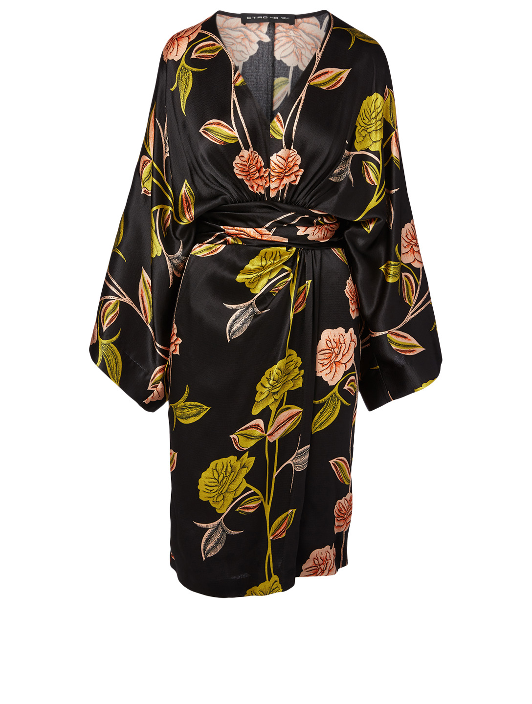 ETRO Satin Wrap Dress Women's Black